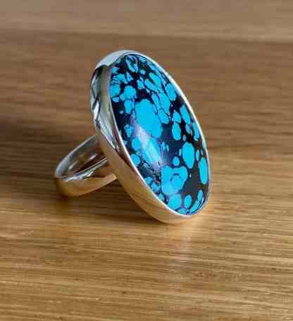 Chunky Silver Turquoise ring 2 by Victoria Jane