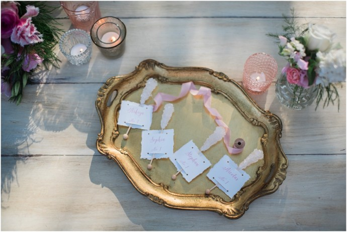 Cute wedding place card idea with hand made place cards