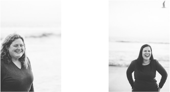 Black and white portrait at venice beach of two brides