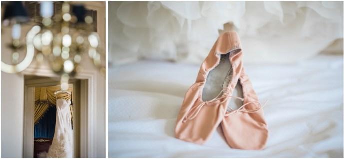 Bridal Preparation at the LA Biltmore Hotel. Close up of pink ballet shoes and dress
