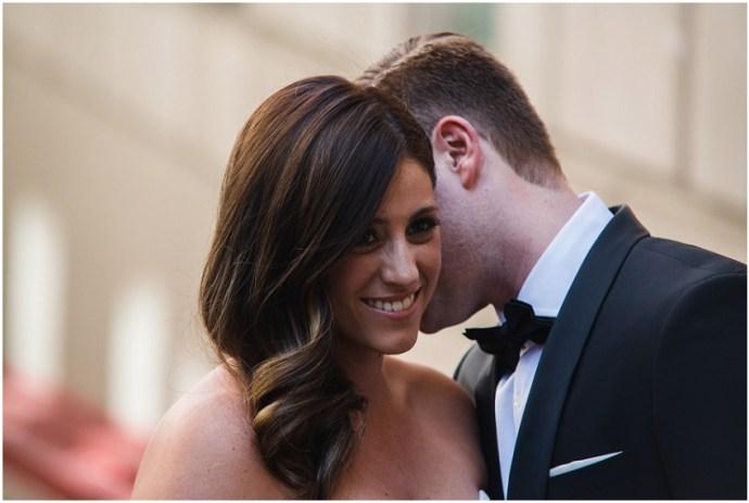 Romantic portrait of a wedding couple in downtown LA (DTLA)
