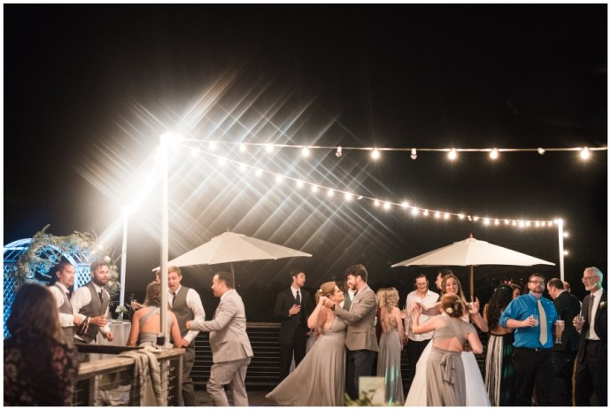 An overview of people dancing at a Crystal Cove Wedding