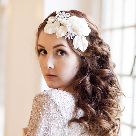Vintage Velvet Blossom and Crystal Headdress