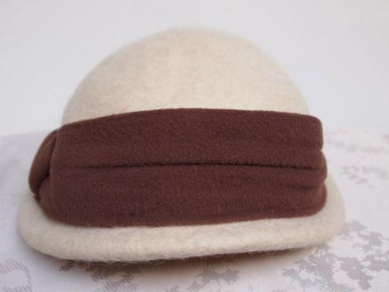 Original Vintage 1950's Cream and Brown Felt Winter Bridal Hat No.105