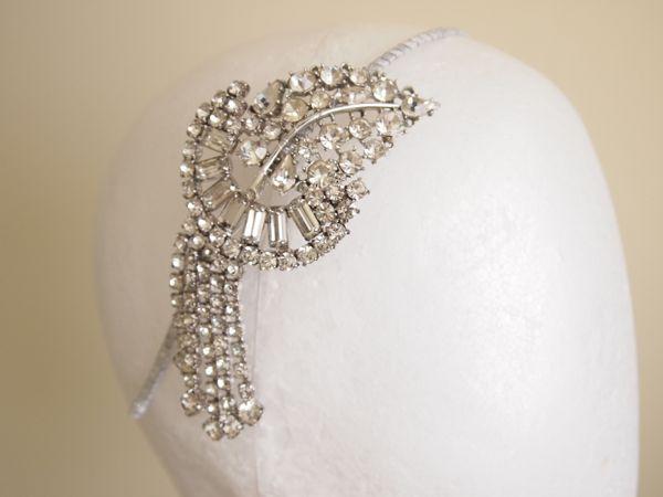 SOLD - Vintage Rhinestone Art Deco Side Tiara No. 127