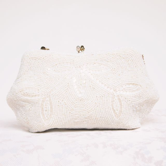 SOLD - 1940's Beaded Vintage Bridal Clutch Bag No.128