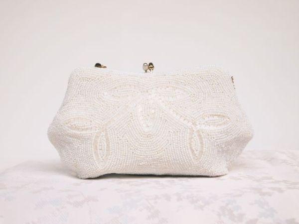 SOLD - 1940's Beaded Vintage Bridal Clutch Bag No.128