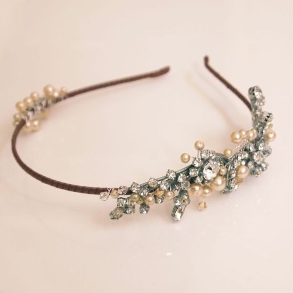 Rhinestone and Pearl Vintage Tiara No.13102