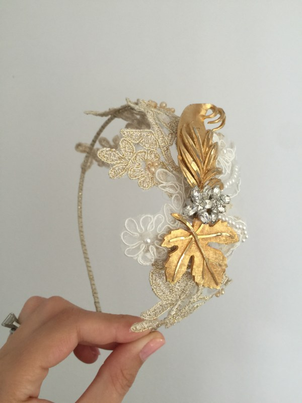 Gold and Lace Vintage Bridal Headpiece