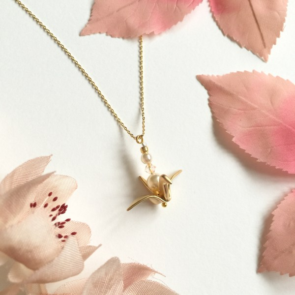 quot wish me luck quot origami crane bridesmaid necklace
