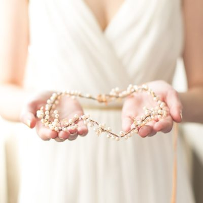 Autumn Pearl Handmade Bridal Halo