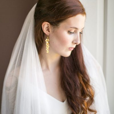Handmade Gold Orchid Bridal Earrings