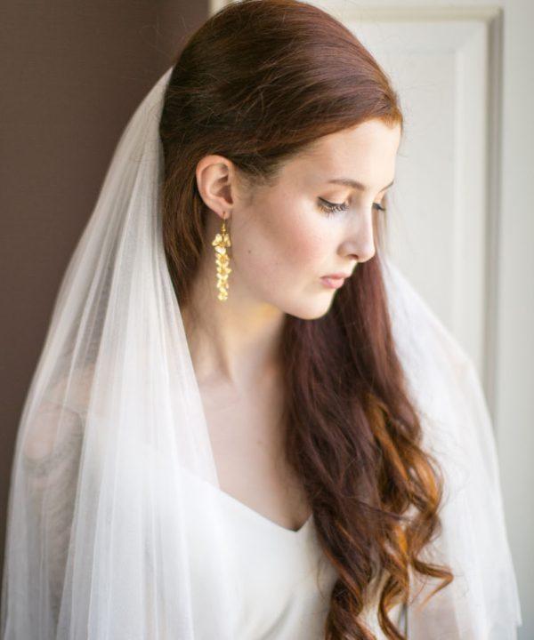 Handmade Gold Orchid Bridal Earrings