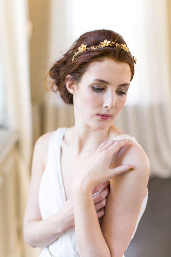 Handmade Gold Floral Bridal Headband