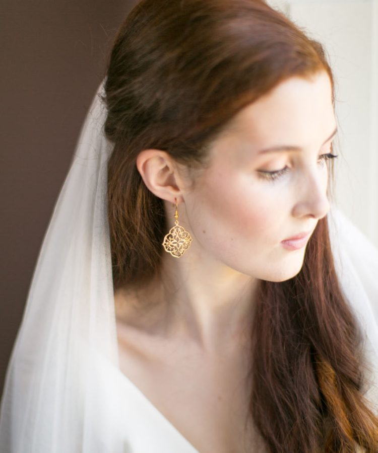 Handmade Gold Bridal Earrings