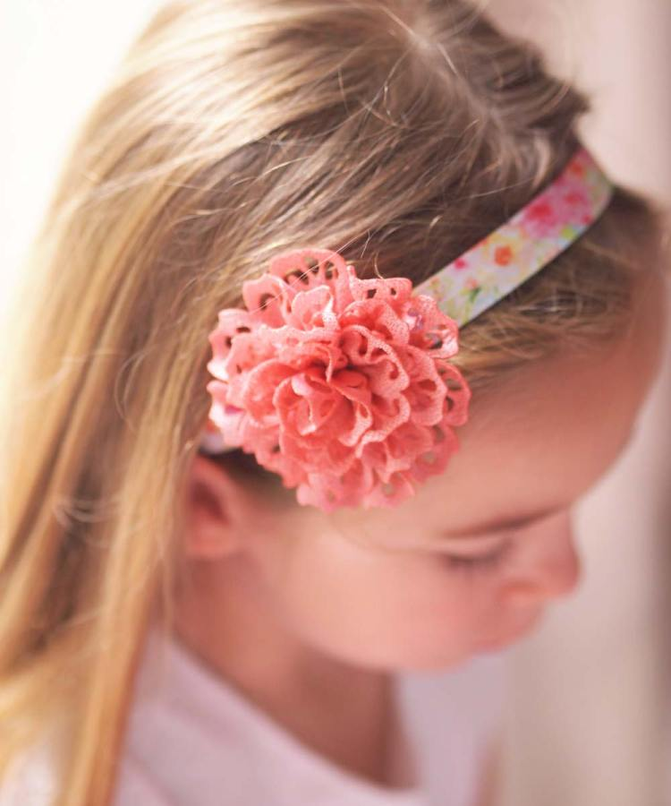 Flowergirl watercolour Pink floral headband