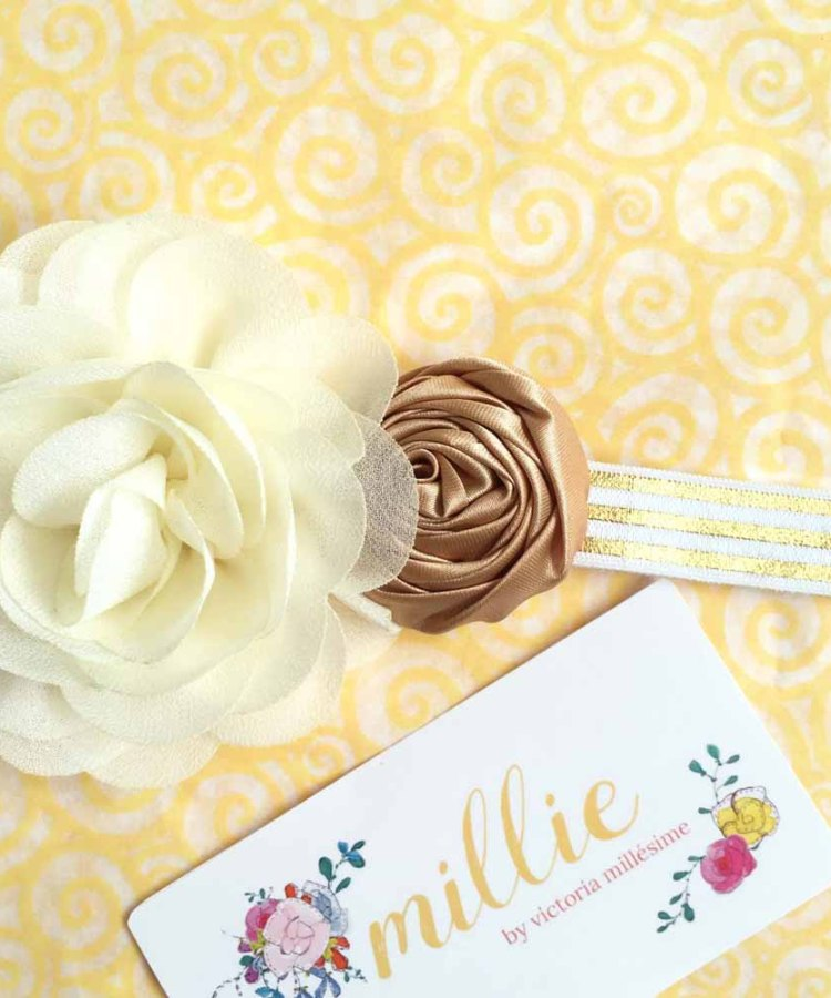 Ivory and Gold Flower Girl Headband