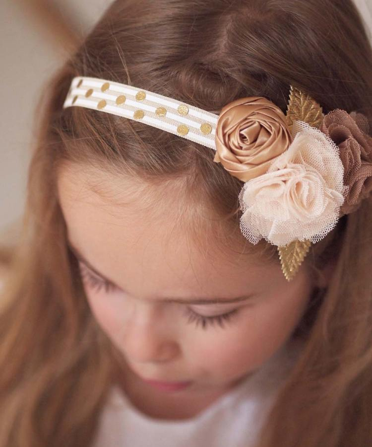 Baby Girls Gold Floral Headband