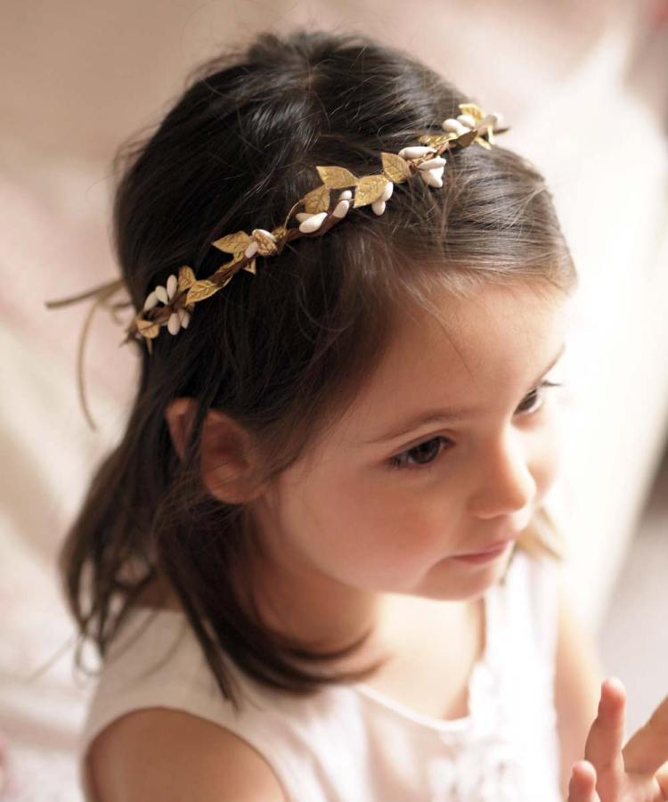 Flower girl boho gold crown