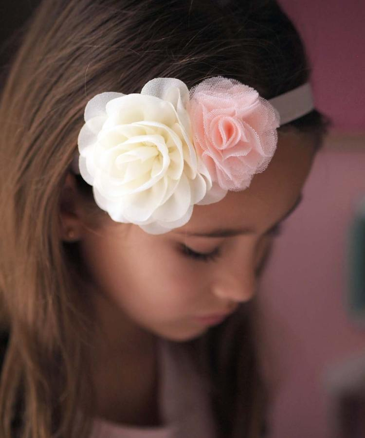 Girls Ivory and Peach Flower Girl Headband