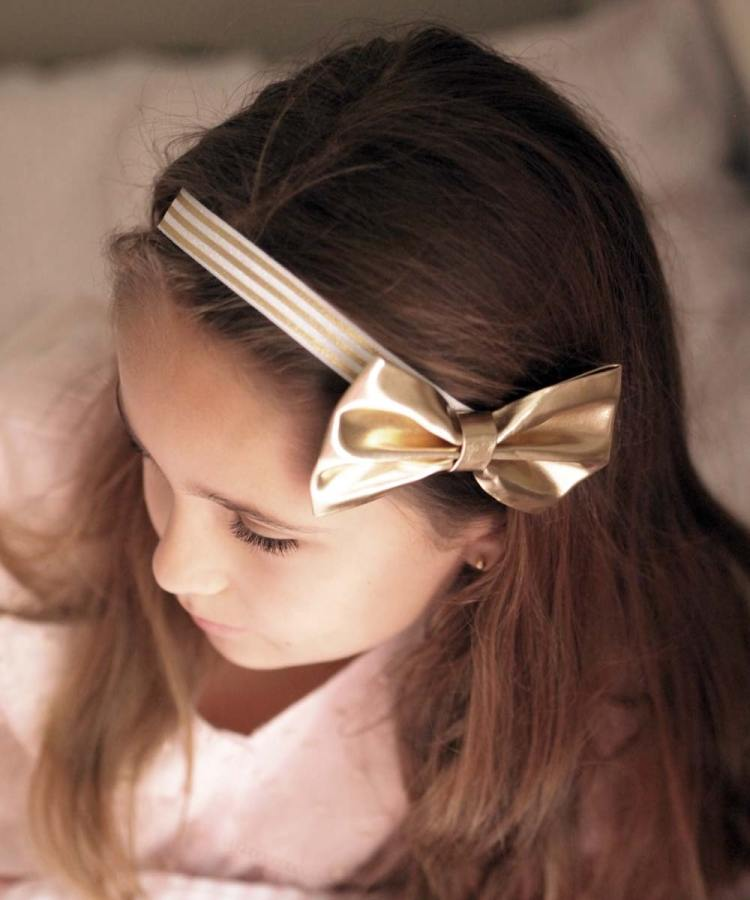 Girls and Baby Gold Bow Headband