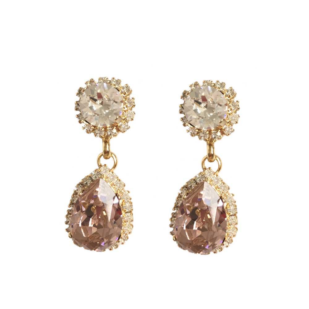Bespoke Swarovski Chandelier Drop Earrings In Blush Pink