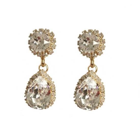 gold swarovski chandelier drop earrings