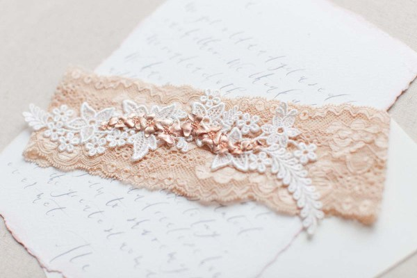 double orchid blush pink wedding garter belt