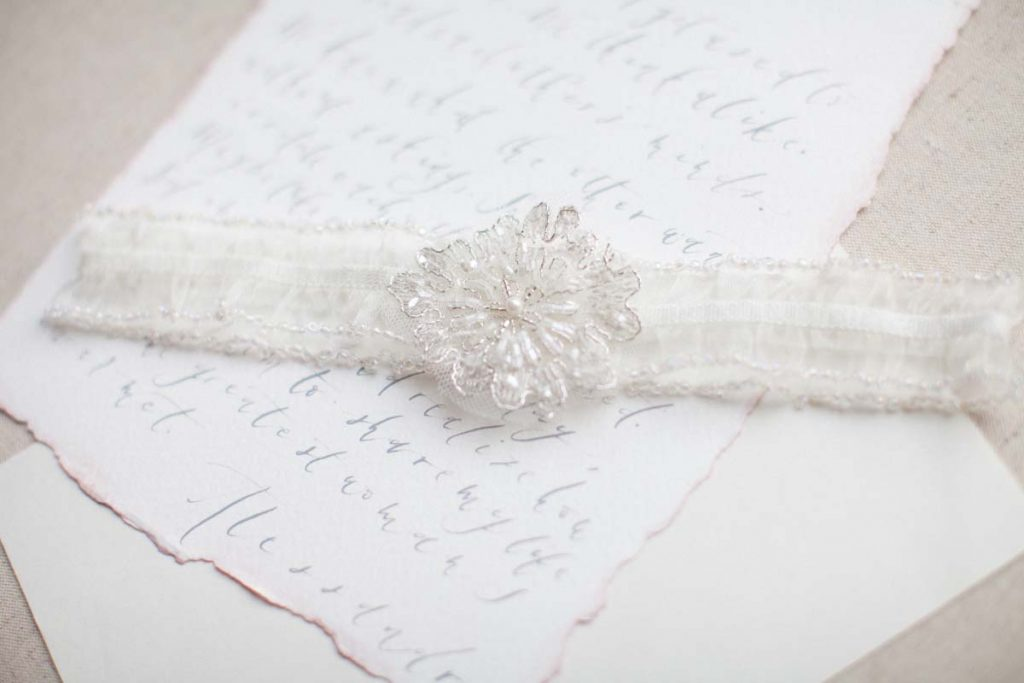ivory beaded wedding garter belt