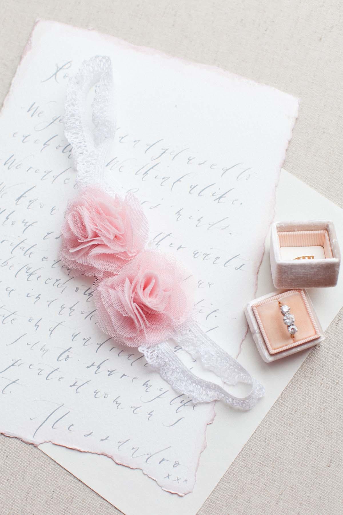 Blush Pink Roses Wedding Garter
