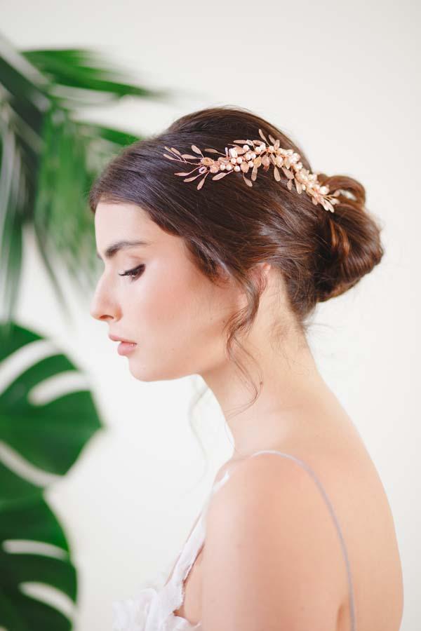 Freya Rose Gold Bridal Hair Vine