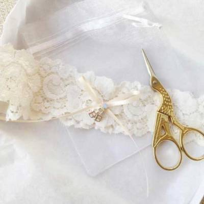 personalised initial wedding garter