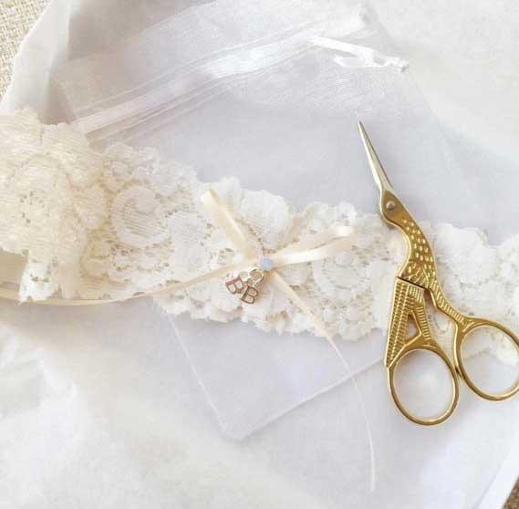 personalised initial wedding garter