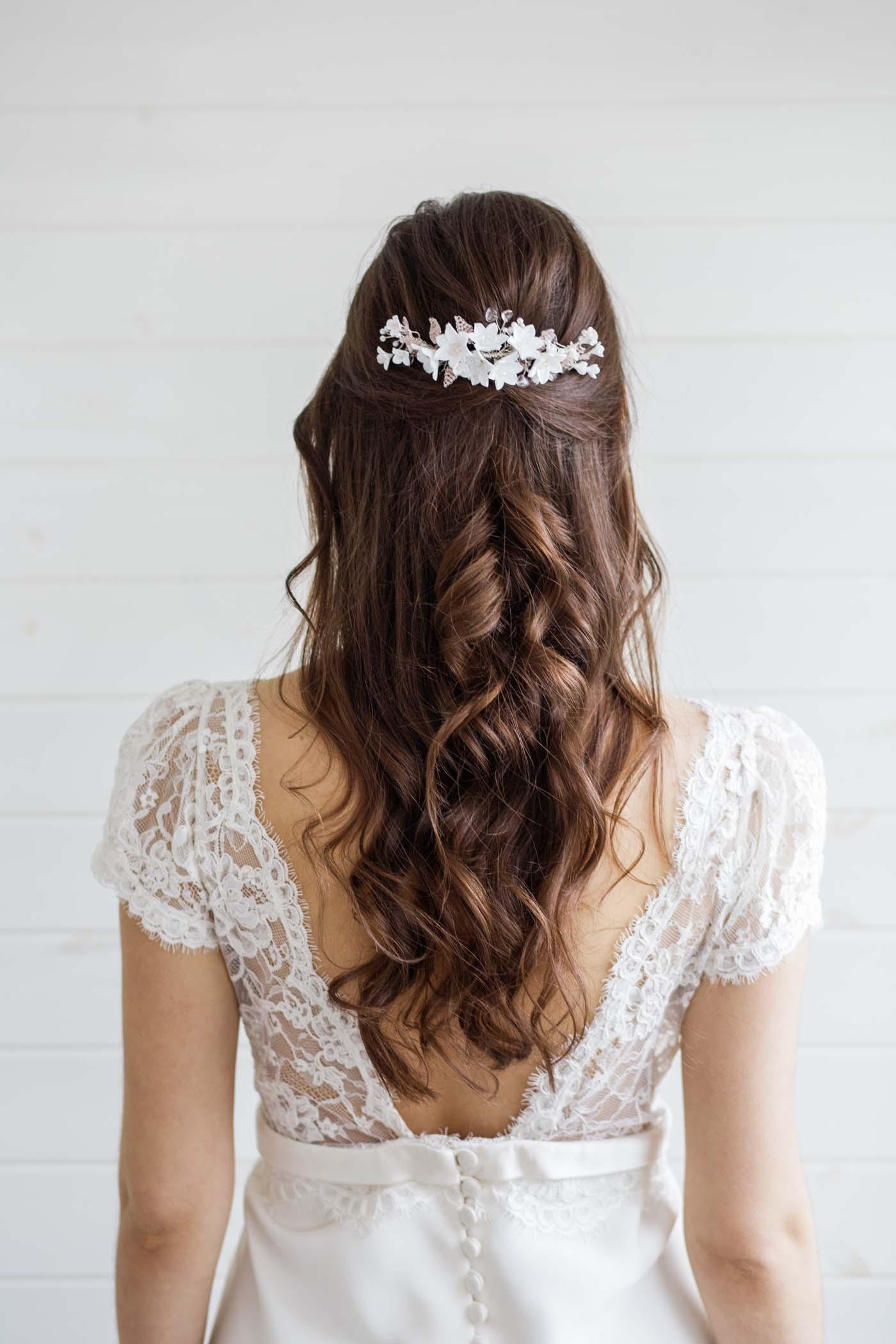 anemone clay flower wedding hair comb