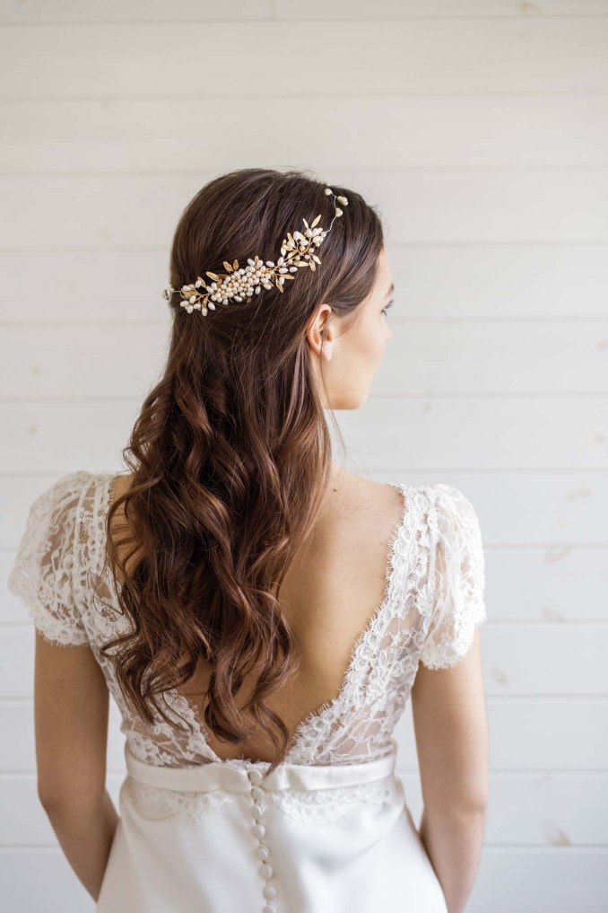 aster pearl wedding hair comb