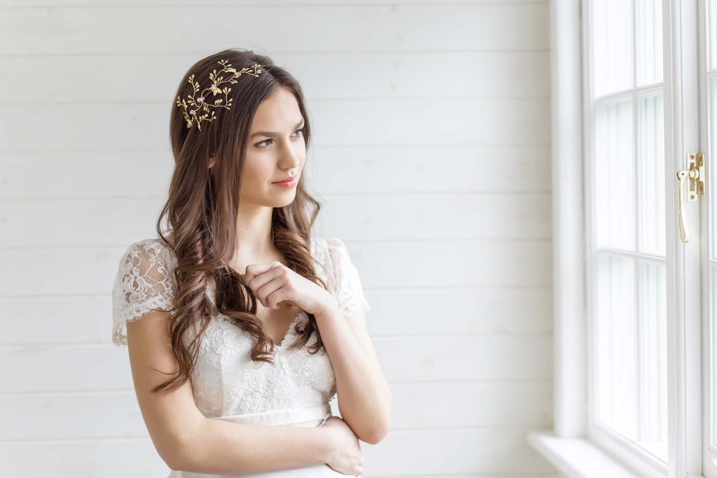 Astilbe Gold Wedding Bridal Headpiece
