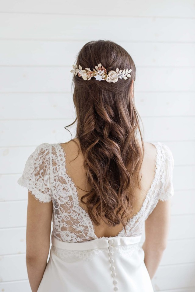 etoile gold bridal hair comb