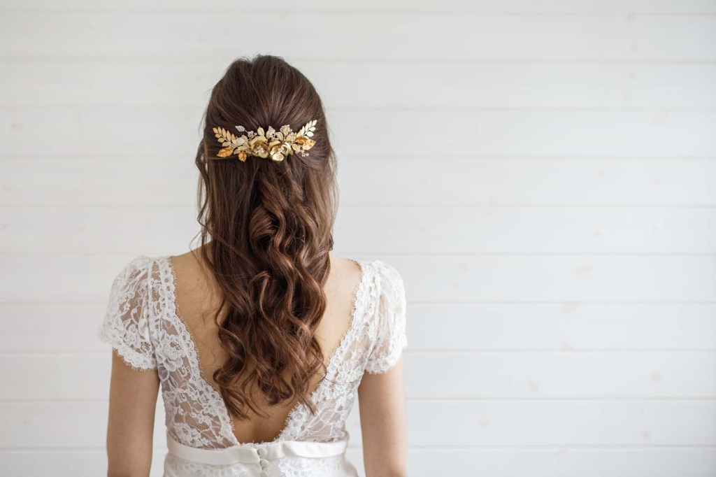 large gold bridal hair comb