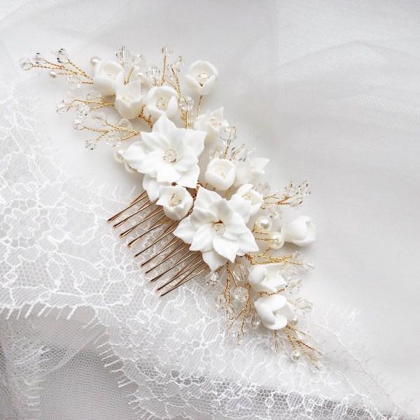 Clay Flower Wedding Hair Vine