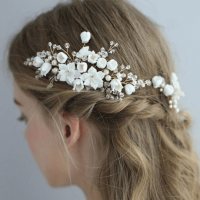 Alyssa Clay Flower Bridal Hair Vine