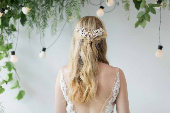 Alyssa clay flower wedding hair comb