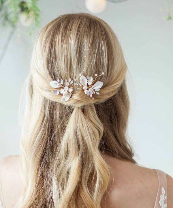 Alyssa Clay Flower Bridal hair Pin