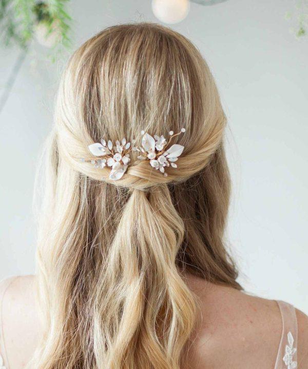 Alyssa Clay Flower Bridal hair Pin