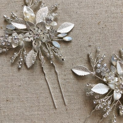 Dianthus Silver Wedding Hair Pin