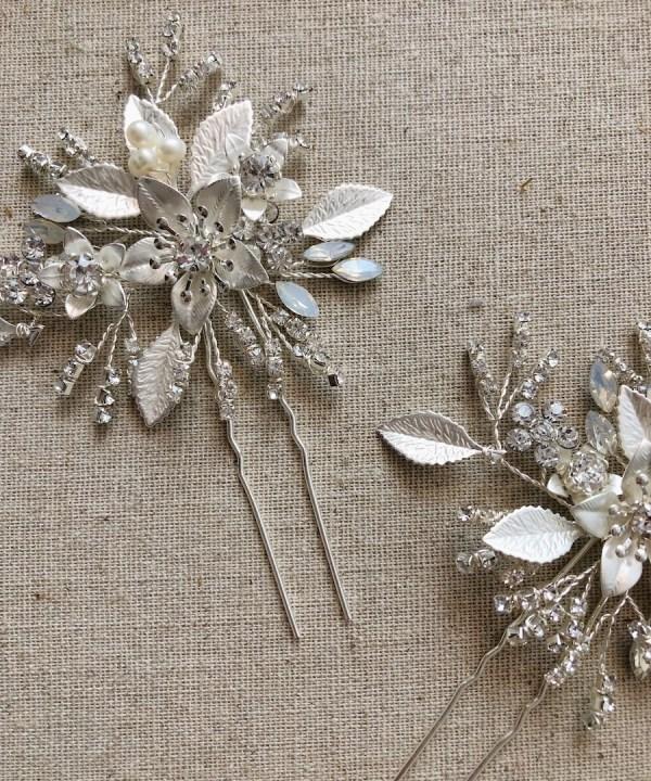 Dianthus Silver Wedding Hair Pin
