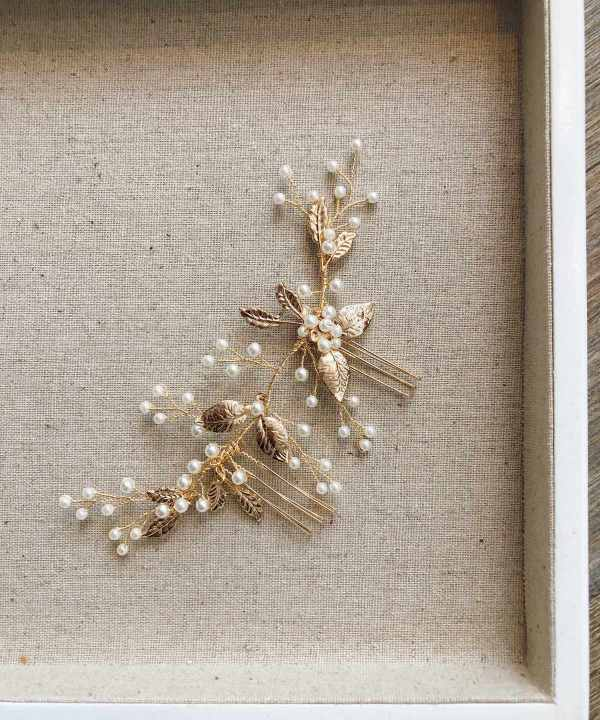Esther Gold Pearl Wedding Hair Comb