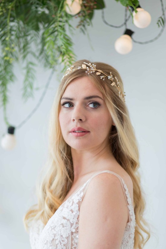 Giselle Gold Pearl Wedding Hair Vine