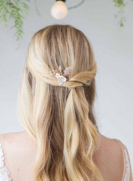 Lotte Clay Flower Wedding Hair Pin Small