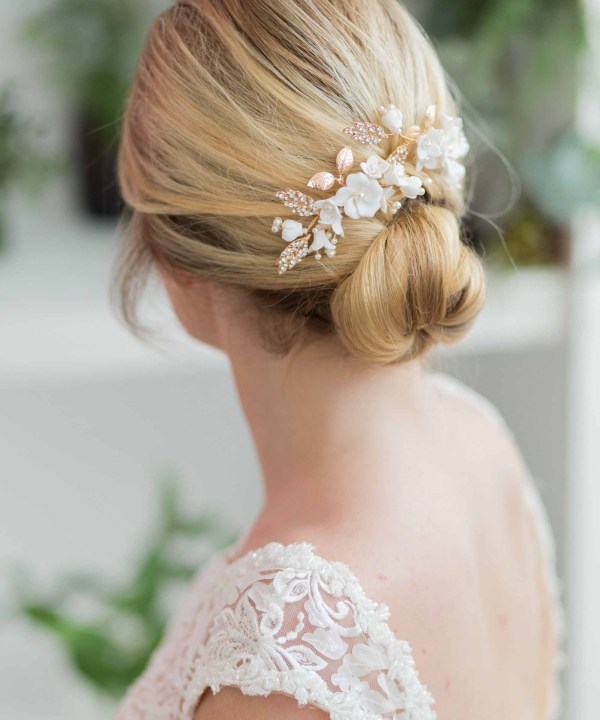 Vanessa Gold Ivory Wedding Hair Pin