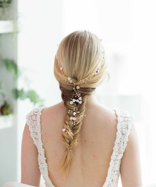 Dyanthus Gold Extra Long Wedding Hair Vine Pearls
